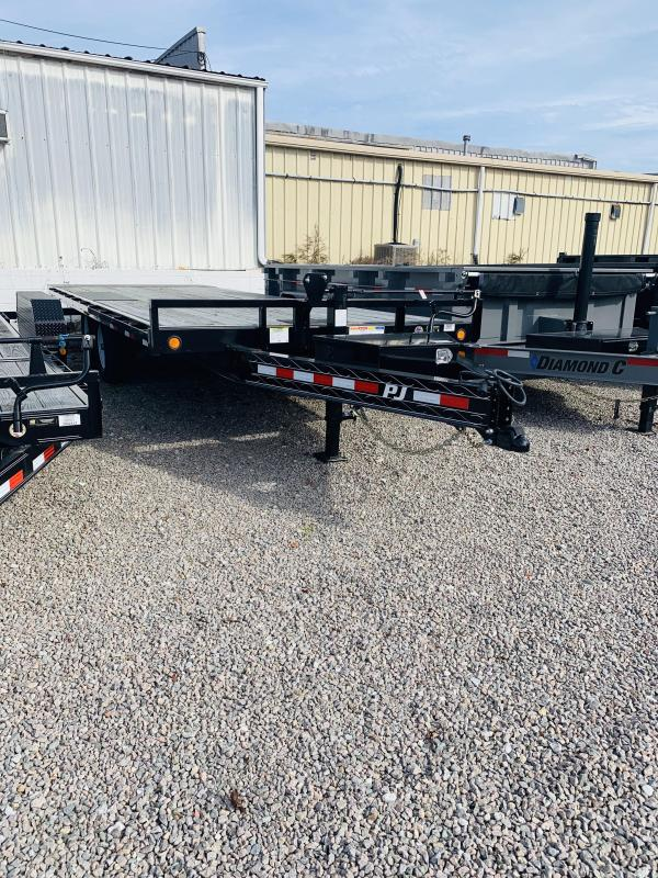 PJ Trailers T8222 22' Full Tilt Flatdeck Equipment Trailer with 14K GVWR