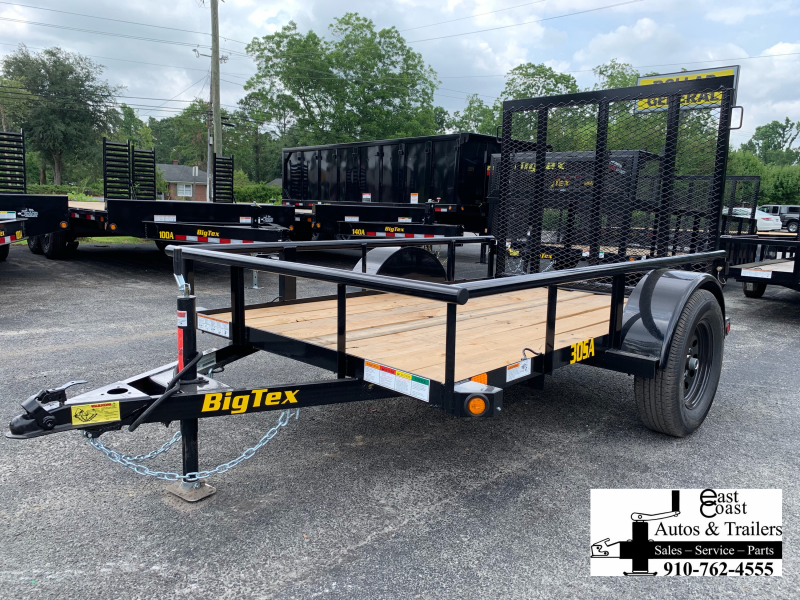 Big Tex Trailers 30SA (5' X 10') Utility Trailer with Pipe Top Rails