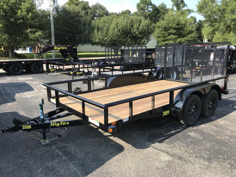 Big Tex Trailers 70PI (7' X 16') Tandem Axle  Utility Trailer with brakes on BOTH axles and 7K GVWR