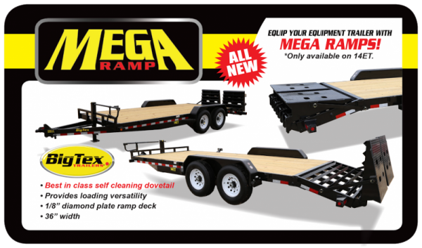 2021 Big Tex 14ET 20' Equipment Trailer with Mega Ramps and 14K GVWR