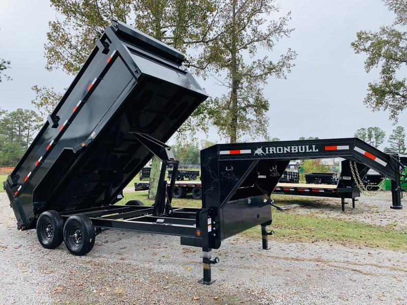 2021 IronBull 14k GVWR 7x16 Gooseneck Dump Trailer with 4' Walls