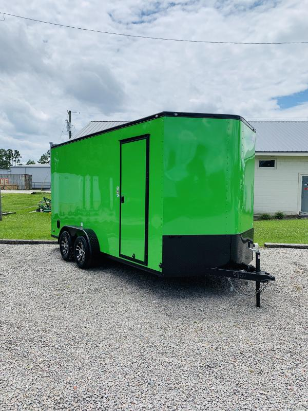 Arctic Green 7x16 Blackout Enclosed Cargo Trailer