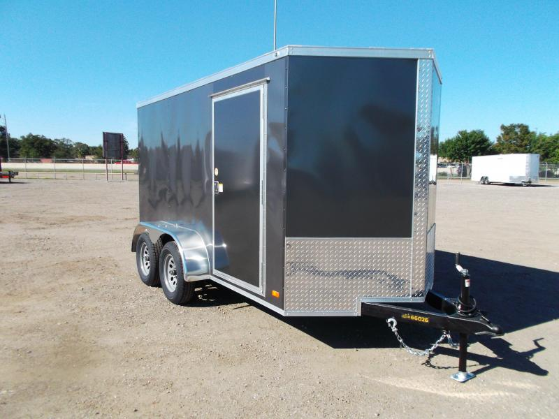 2021 Covered Wagon Trailers 6x12 Tandem Axle Cargo Trailer / Enclosed Trailer / Ramp / RV Side Door / LEDs / Charcoal Gray Semi-Screwless Exterior