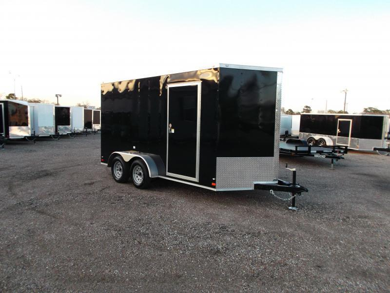 "2021 Covered Wagon Trailers 7x14 Tandem Axle Cargo Trailer / Enclosed Trailer / 6'6"" Interior / Ramp / D-Rings / LEDs"