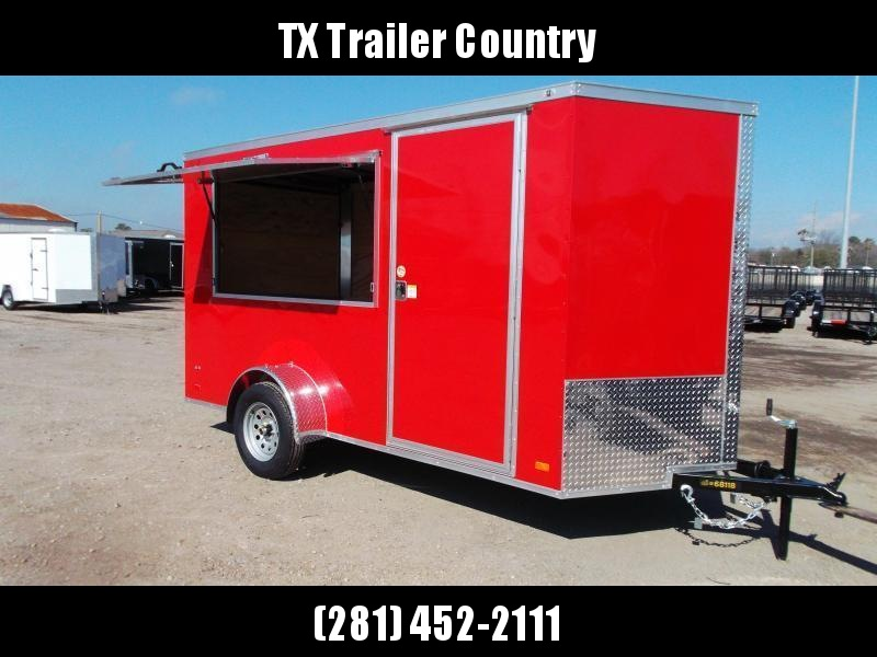 """2022 Covered Wagon Trailers 6x12 Single Axle Concession Trailer / Vending Trailer / Cargo Trailer / 6'6"""" Interior Height / Ramp / RV Side Door / LEDs / Red Semi-Screwless Exterior / 3x6 Concession Window"""