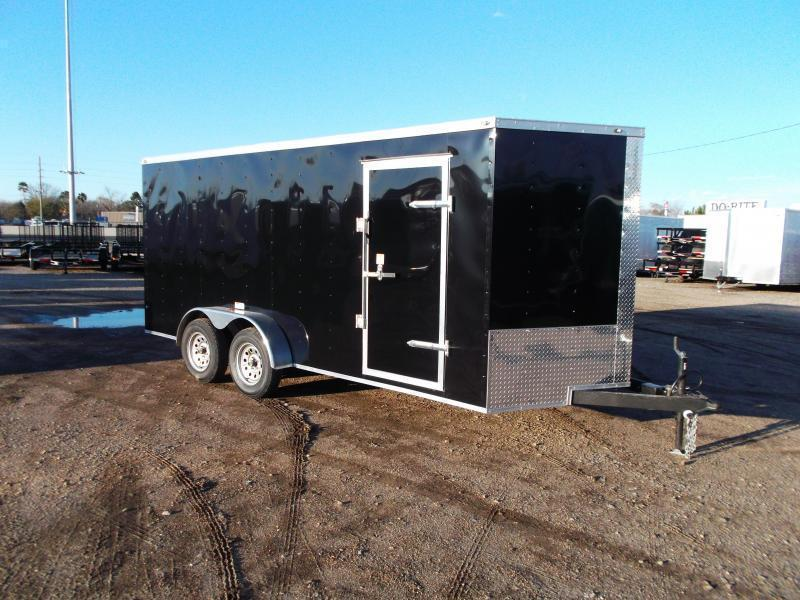 "2021 Texas Select 7x16 Tandem Axle Cargo Trailer / Enclosed Trailer / Ramp / 6'6"" Interior Height / Side Door / LEDs"