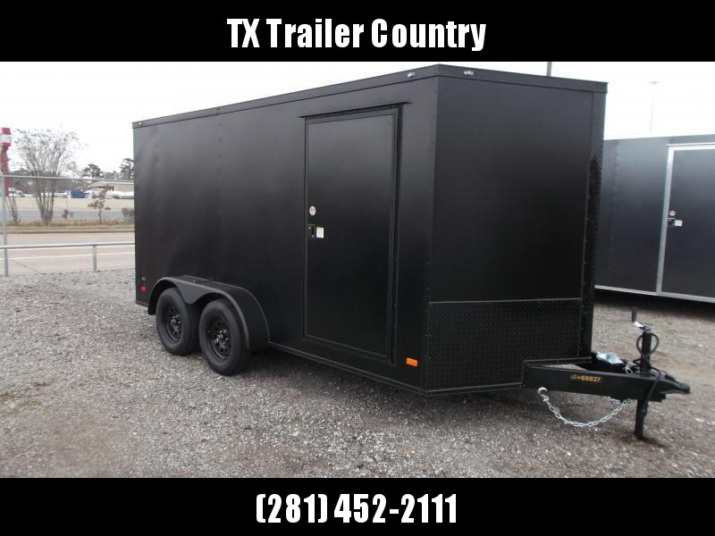 """SPECIAL - 2022 Covered Wagon Trailers 7x14 Tandem Axle Cargo Trailer / Enclosed Trailer / 6'3"""" Interior / Ramp / LEDs / Black Powder Coat Semi-Screwless Exterior / Black Out Package"""
