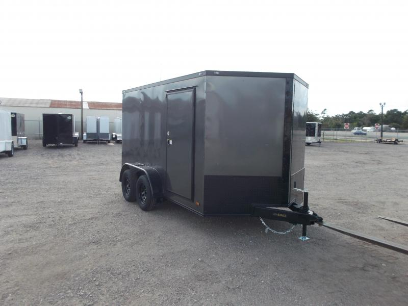 2021 Covered Wagon Trailers 7x12 Tandem Axle Motorcycle Trailer / Cargo Trailer / Charcoal / Black Out Package / Ramp / LEDs