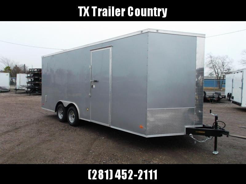 SPECIAL - 2022 Covered Wagon Trailers 8.5x20 Tandem Axle Cargo / Enclosed Trailer / 7ft Interior Height / 5200# Axles / Barn Doors / RV Side Door / LEDs / .030 Silver Semi-Screwless Exterior