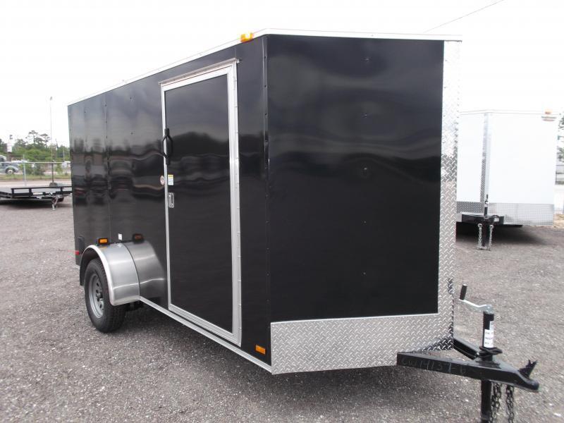2021 Covered Wagon Cargo 6x12 Single Axle Cargo Trailer / Enclosed Trailer / Ramp / RV Side Door / 1 Piece Roof