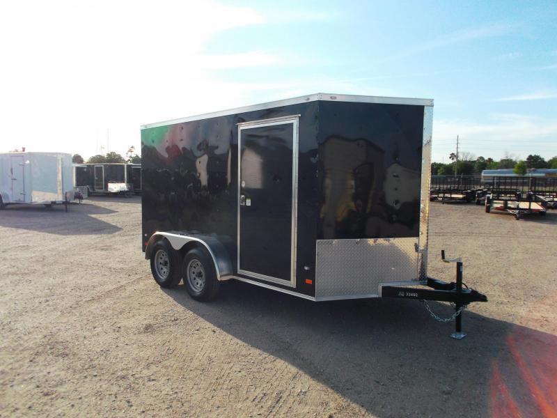 2021 Covered Wagon Trailers 7x12 Tandem Axle Motorcycle Trailer / Cargo Trailer / Enclosed Trailer / Ramp / RV Door / Semi-Screwless Exterior / LEDs
