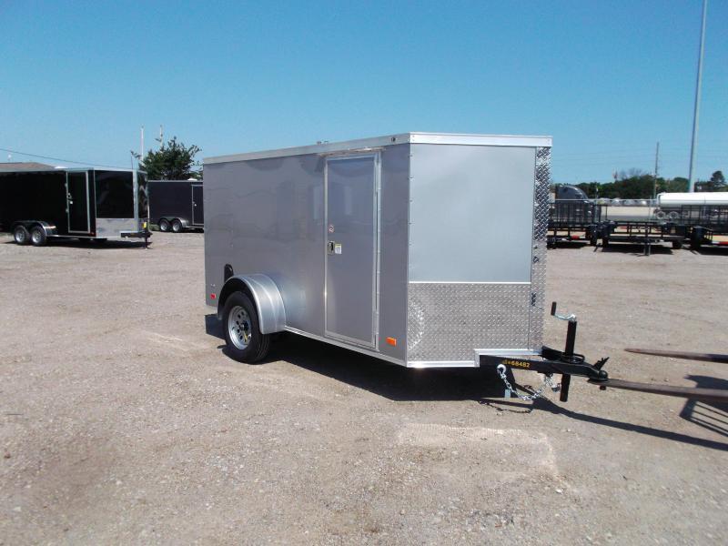 2021 Covered Wagon 5x10 Single Axle Cargo Trailer / Enclosed Trailer / Ramp / RV Side Door / LEDs / Silver Semi-Screwless Exterior