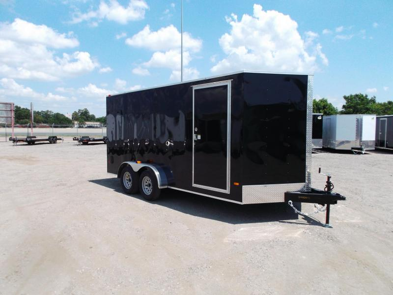 2021 Covered Wagon Trailers 7x16 Tandem Axle Cargo Trailer / Enclosed Trailer / 6ft Interior / Ramp / RV Side Door / 1 Piece Roof