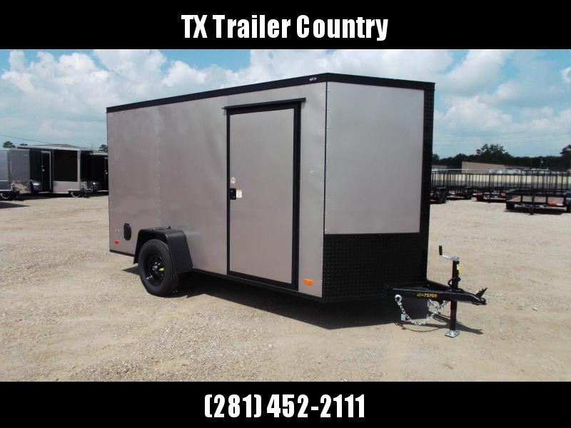 """SPECIAL - 2022 Covered Wagon Trailers 6x12 Single Axle Cargo / Enclosed Trailer / 6'3"""" Interior Height / Ramp Gate / RV Side Door / LEDs / Arizona Beige Semi-Screwless Exterior / Black Out Package"""