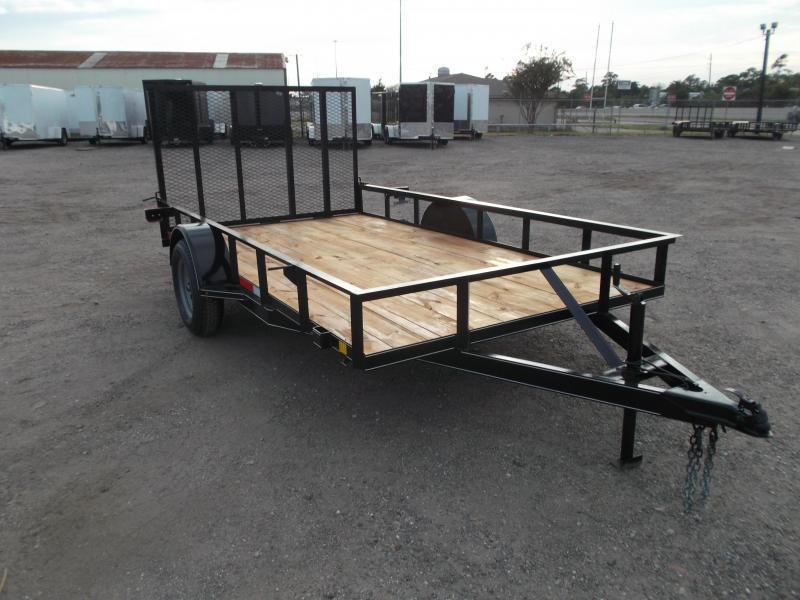 2021 TTC 77x14 Single Axle Utility Trailer / Wrap Tongue / 4ft Ramp Gate / Heavy Duty Pipetop