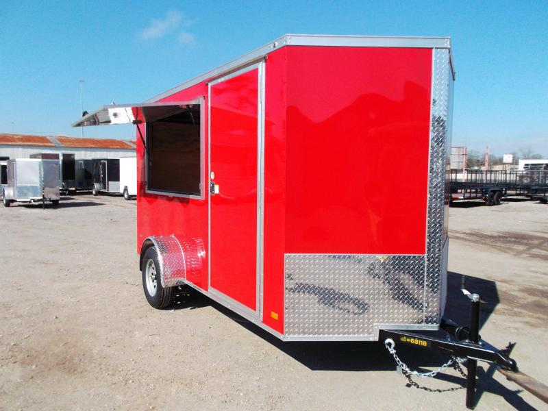 """2021 Covered Wagon Trailers 6x12 Single Axle Concession Trailer / Vending Trailer / Cargo Trailer / 6'6"""" Interior Height / Ramp / RV Side Door / LEDs / Red Semi-Screwless Exterior / 3x6 Concession Window"""