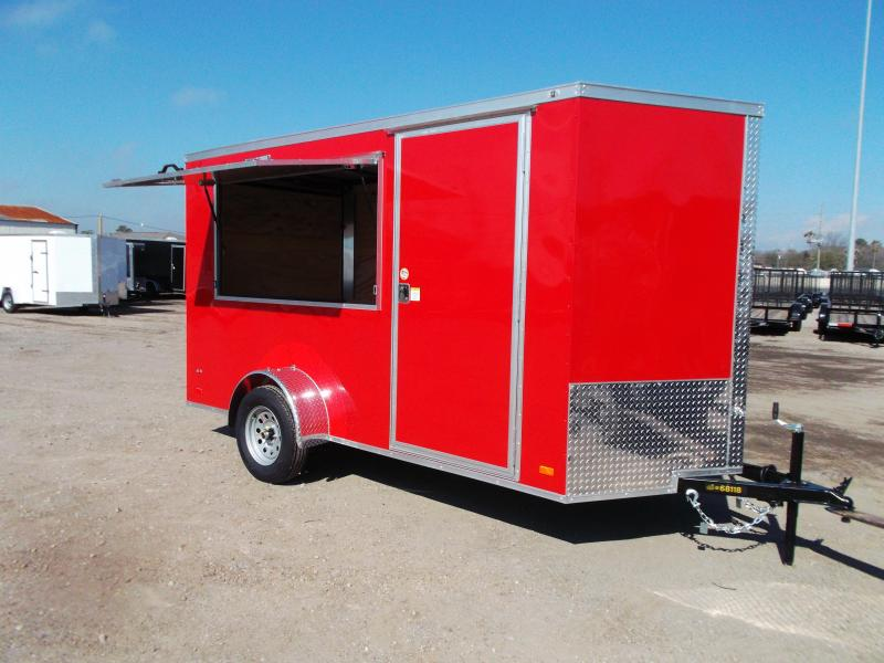 "2021 Covered Wagon Trailers 6x12 Single Axle Concession Trailer / Vending Trailer / Cargo Trailer / 6'6"" Interior Height / Ramp / RV Side Door / LEDs / Red Semi-Screwless Exterior / 3x6 Concession Window"