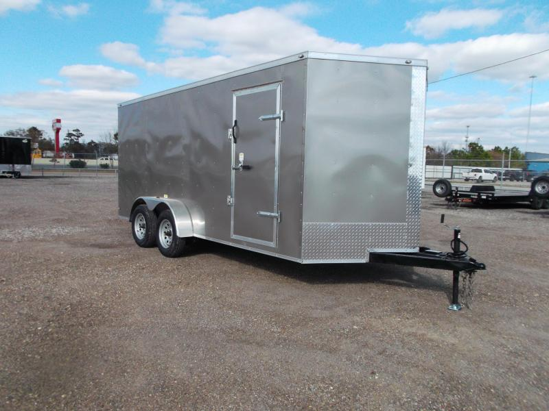 "2021 Texas Select 7x16 Tandem Axle Cargo Trailer / Enclosed Trailer / Ramp / 6'6"" Interior / Side Door / LEDs / Pewter Exterior"
