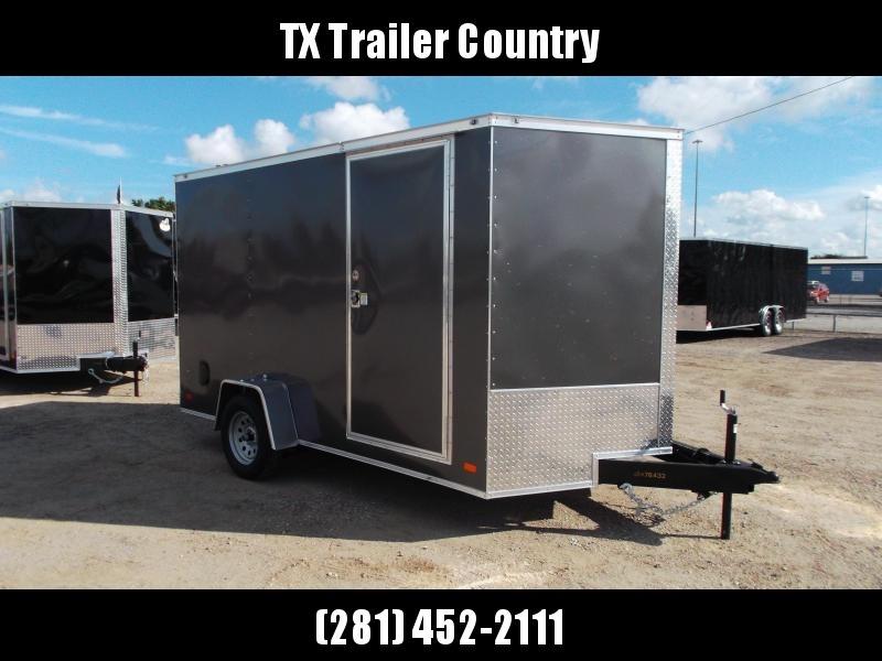 "2022 Covered Wagon Cargo Trailer 7x12 Single Axle Cargo Trailer / Enclosed Trailer / 6'6"" Interior / Ramp Gate / RV Side Door / LEDs / Charcoal Gray Semi-Screwless Exterior"