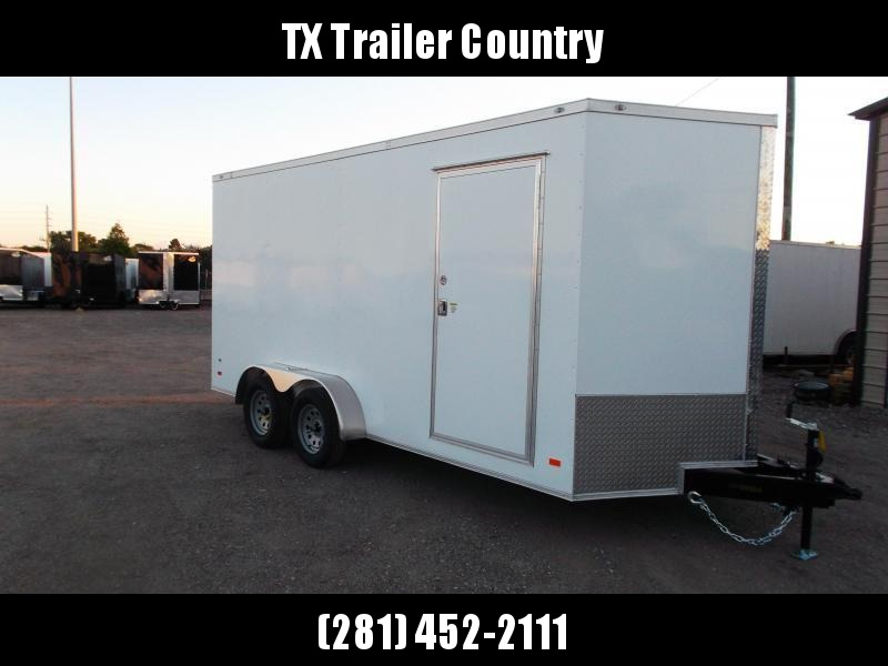 2022 Covered Wagon Trailers 7x16 Tandem Axle Cargo Trailer / Enclosed Trailer / 7ft Interior / Ramp / RV Door / LEDs / Semi-Screwless Exterior