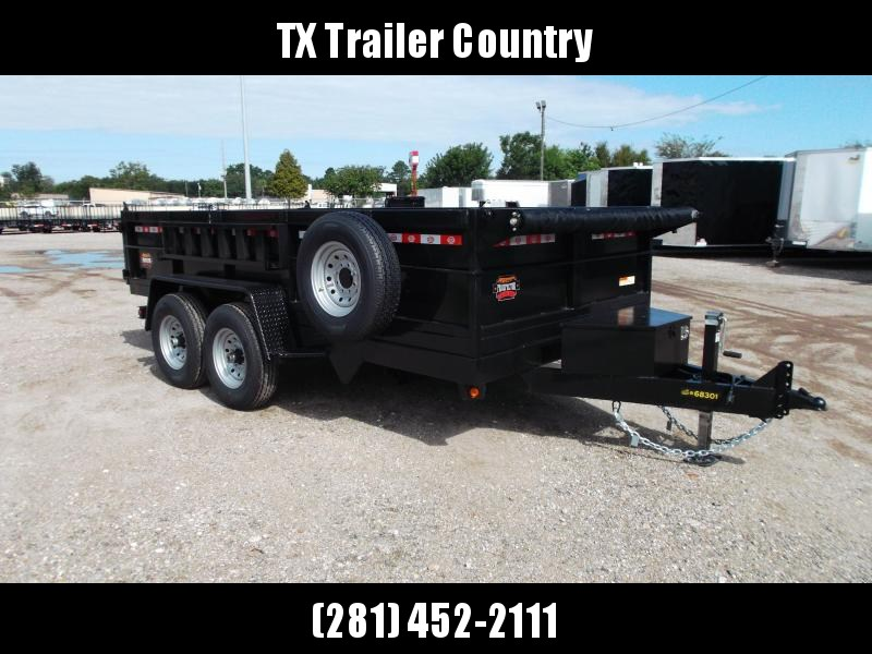 SPECIAL - 2022 Covered Wagon Trailers 7x14 Dump Trailer / 7K Axles / 2ft Sides / Tarp / Spare Tire / Twin Cylinder Lifts / Powder Coated Black