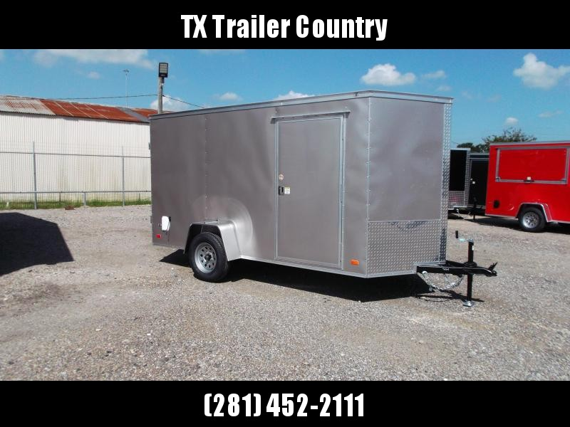 "SPECIAL - 2022 Covered Wagon Trailers 6x12 Single Axle Cargo Trailer / Enclosed Trailer / Barn Doors / 6'3"" Interior / RV Side Door / LEDs / Arizona Beige Semi-Screwless Exterior"
