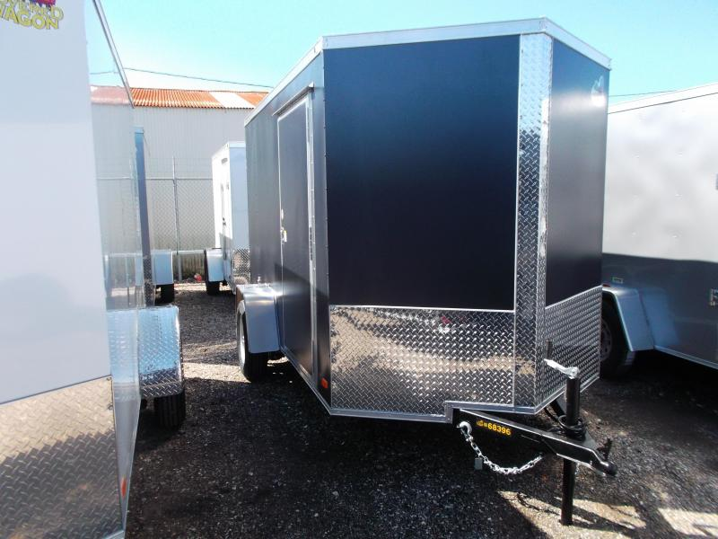 "2021 Covered Wagon Trailers 6x12 Single Axle Cargo Trailer / Enclosed Trailer / 6'6"" Interior Height / Ramp / RV Side Door / LEDs / Semi-Screwless Exterior / Silver Vein Powder Coated Skin"