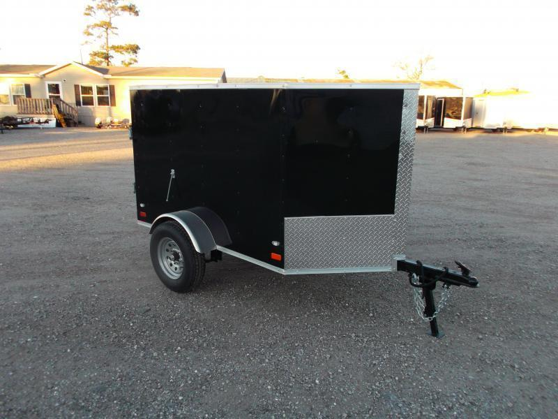 2021 Covered Wagon Trailers 4x6 Single Axle Cargo Trailer / Enclosed Trailer / Black / LEDs