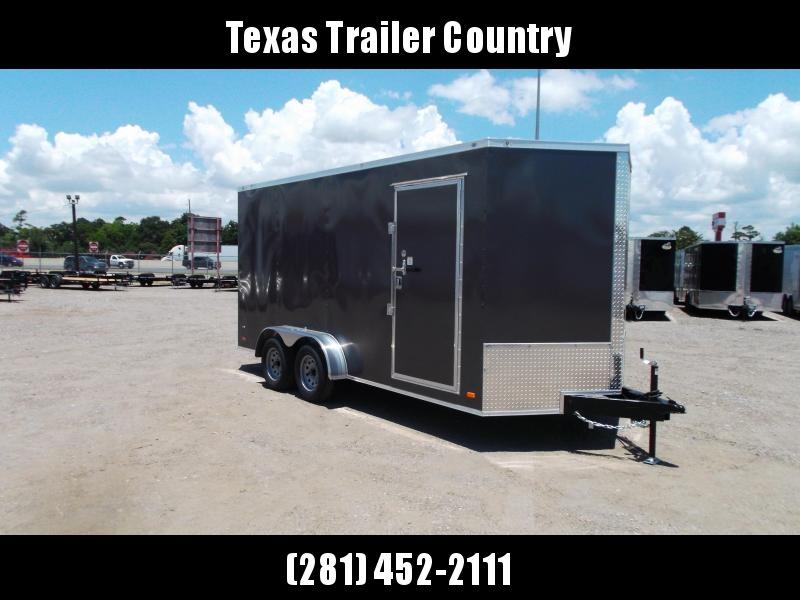 "2022 Covered Wagon Trailers 7x16 Tandem Axle Cargo Trailer / Enclosed Trailer / 6'6"" Interior / Barn Doors / RV Door / LED's / Charcoal Gray Semi-Screwless Exterior"