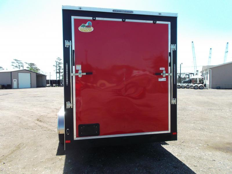 """2021 Covered Wagon Trailers 7x16 Tandem Axle Cargo / Enclosed Trailer / 7'6"""" Interior Height / Ramp / LEDs / Red Semi-Screwless Exterior"""