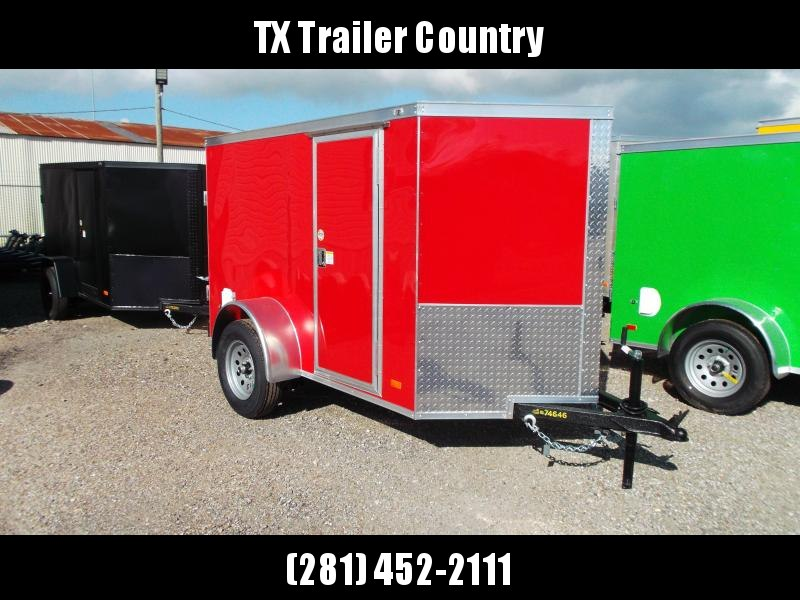 SPECIAL - 2022 Covered Wagon Trailers 5x8 Single Axle Cargo / Enclosed Trailer / Barn Doors / RV Side Door / LEDs / Red Semi-Screwless Exterior