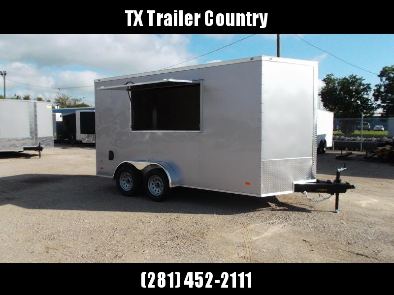2022 Covered Wagon Trailers 7x14 Tandem Axle Cargo / Concession Trailer / 7ft Interior / RV Side Door in Rear / LEDs / Silver Semi-Screwless Exterior / 3x6 Concession Window