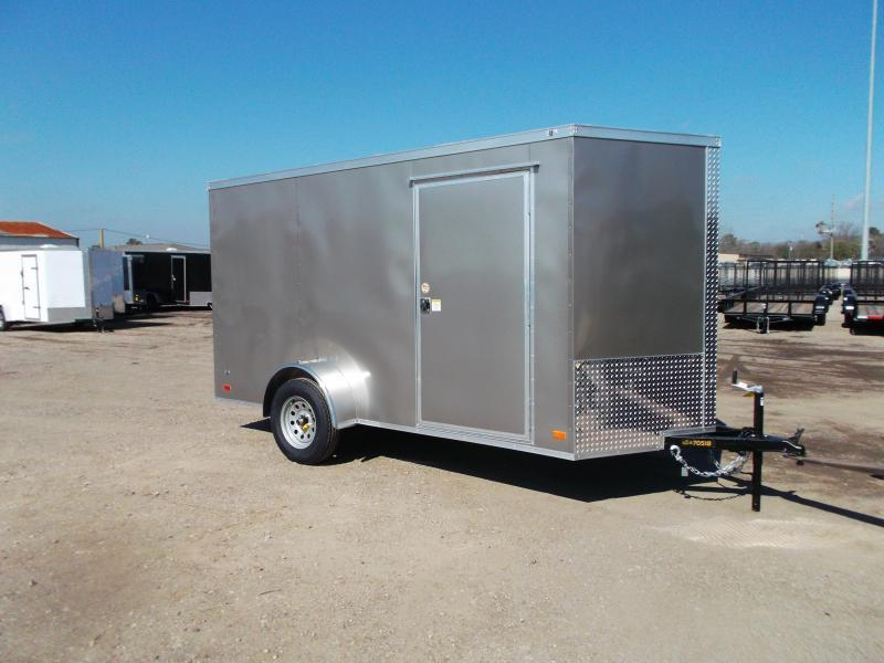 """2022 Covered Wagon Trailers 6x12 Single Axle Cargo Trailer / Enclosed Trailer / 6'3"""" Interior Height / Ramp / RV Side Door / LEDs / Light Pewter Semi-Screwless Exterior"""