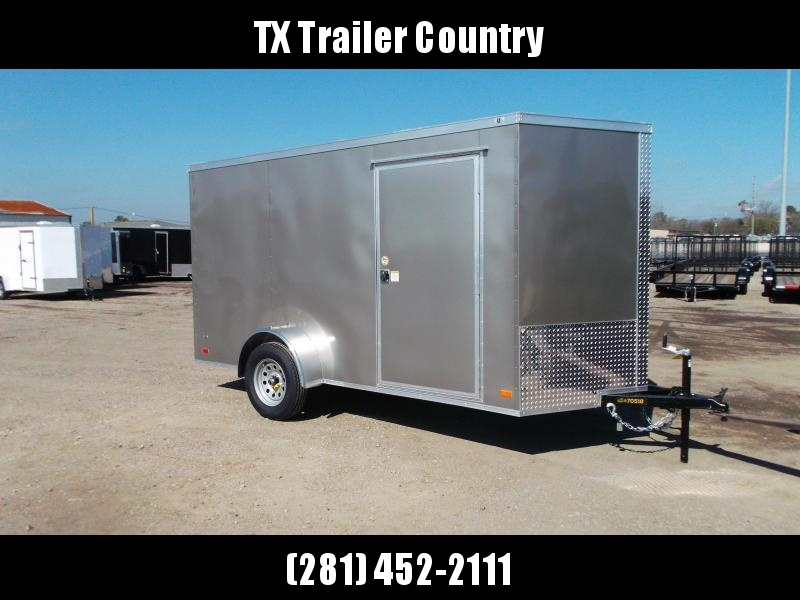 """SPECIAL - 2022 Covered Wagon Trailers 6x12 Single Axle Cargo Trailer / Enclosed Trailer / 6'3"""" Interior Height / Ramp / RV Side Door / LEDs / Light Pewter Semi-Screwless Exterior"""