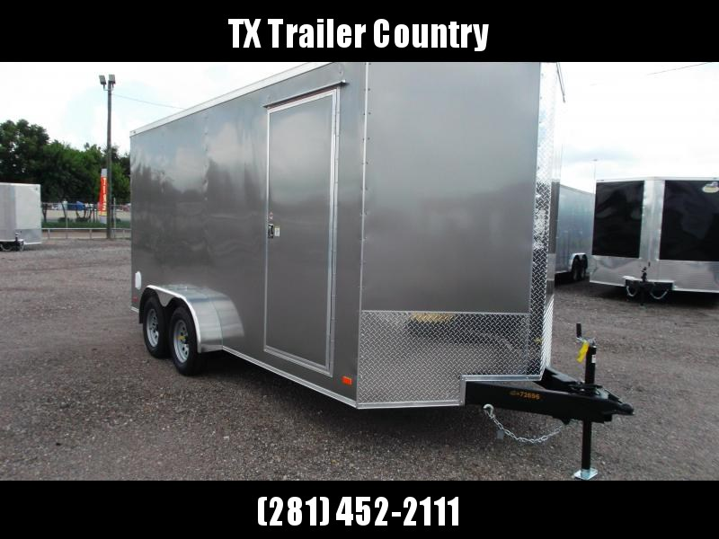 SPECIAL - 2022 Covered Wagon Trailers 7x16 Tandem Axle Cargo Trailer / Enclosed Trailer / 7ft Interior / Ramp / RV Door / LEDs / Light Pewter Semi Screwless Exterior