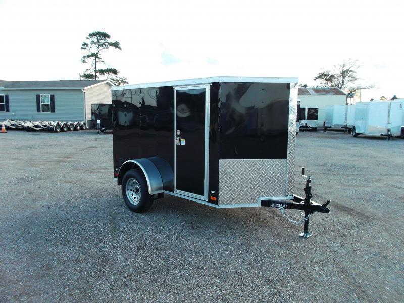 2021 Covered Wagon Trailers 5x8 Single Axle Cargo / Enclosed Trailer / Ramp / RV Side Door / LEDs / Semi-Screwless Exterior