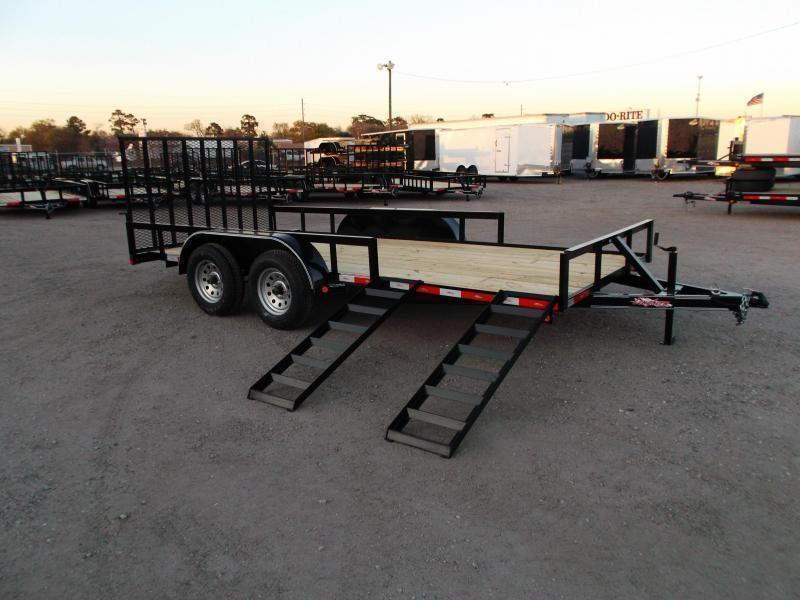 2021 Longhorn Trailers 83x16 Utility Trailer / ATV Trailer w/ 4ft Rear Ramp Gate / 5ft Slide Out Side Ramps