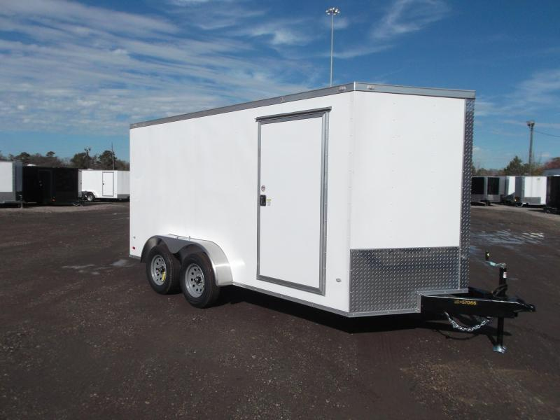 "2021 Covered Wagon Trailers 7x12 Tandem Axle Motorcycle Trailer / Cargo Trailer / Enclosed Trailer / 6'3"" Interior Height / Ramp / RV Door / LEDs"