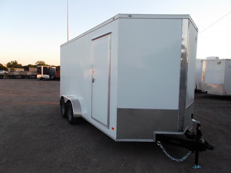 "2021 Covered Wagon Trailers 7x16 Tandem Axle Cargo Trailer / Enclosed Trailer / 6'6"" Interior / Ramp / RV Door / LEDs / Semi-Screwless Exterior"