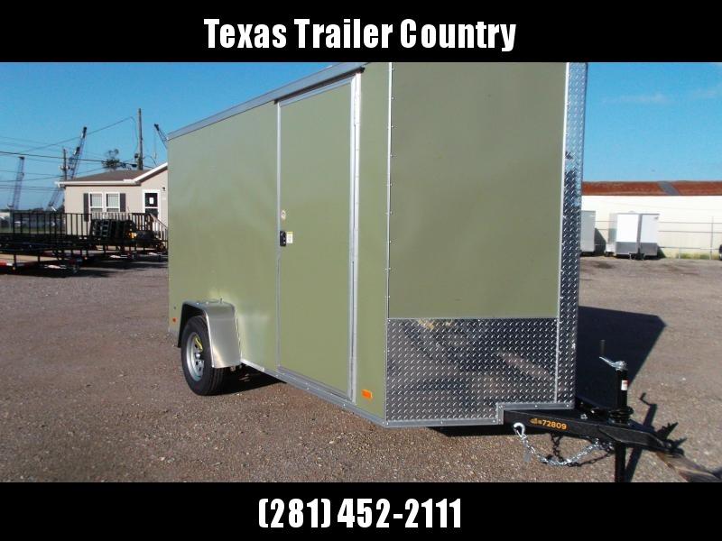 "2021 Covered Wagon Trailers 6x12 Single Axle Cargo / Enclosed Trailer / Ramp / RV Door / 6'6"" Interior / LEDs / Semi-Screwless Exterior / Green Powder Coated Skin"