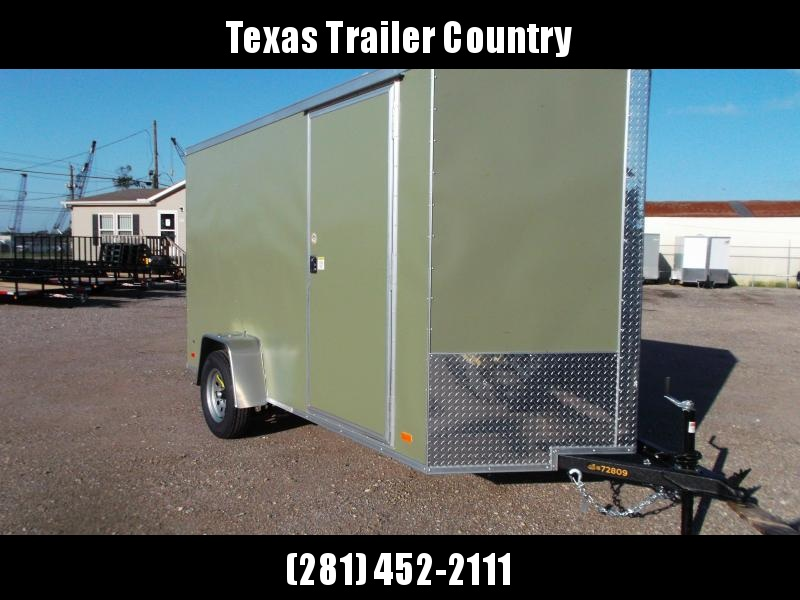 "2021 Covered Wagon Trailers 6x12 Single Axle Cargo / Enclosed Trailer / Ramp / RV Door / 6'6"" Interior / LEDs / Semi-Screwless Exterior / Green Powder Coated Skin"