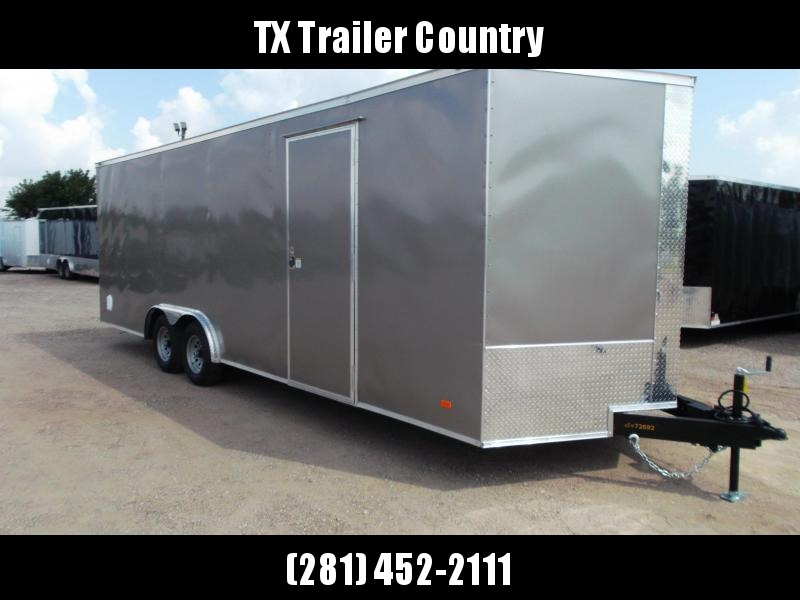 2022 Covered Wagon Trailers 8.5x24 Tandem Axle Cargo / Enclosed Trailer / 7ft Interior Height / 5200# Axles / Ramp / RV Side Door / LEDs / Semi-Screwless Exterior / Light Pewter Skin