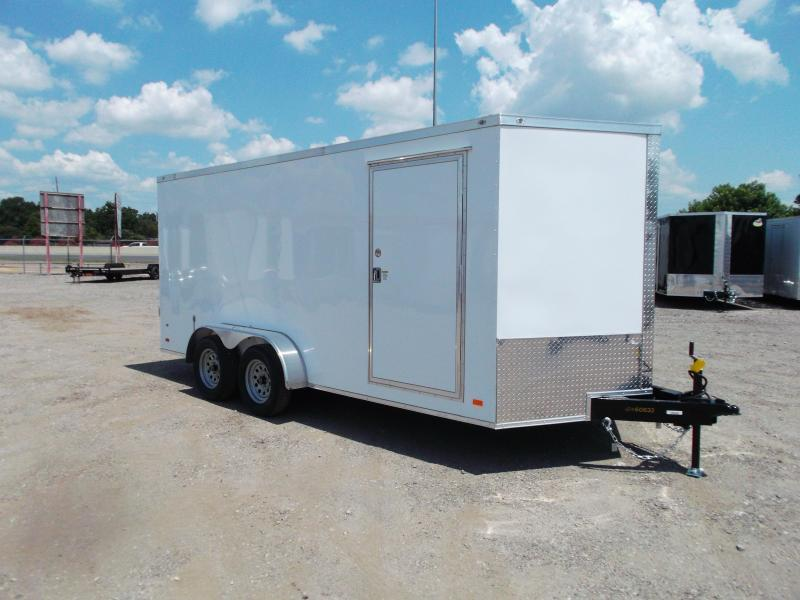 2020 Covered Wagon Trailers 7x16 Tandem Axle Cargo Trailer / Enclosed Trailer / Barn Doors / RV Side Door / LEDs