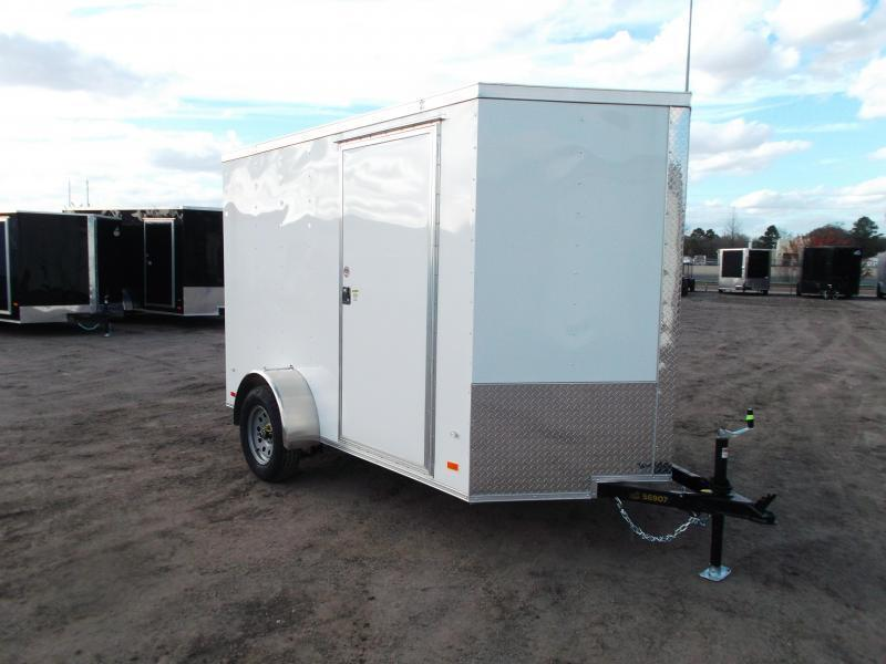 "2021 Covered Wagon Trailers 6x10 Single Axle Cargo Trailer / Enclosed Trailer / Ramp / 6'3"" Interior / RV Side Door / LEDs / Semi-Screwless Exterior"