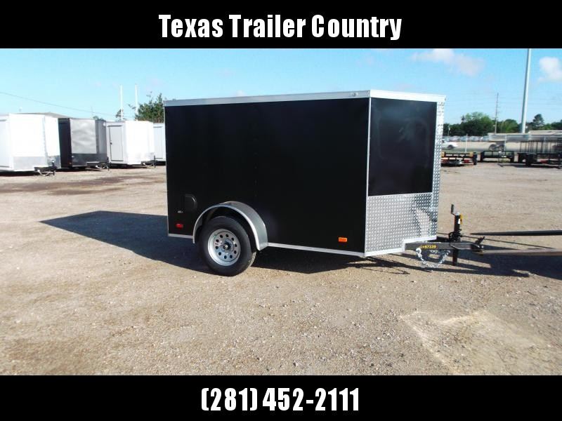 2021 Covered Wagon Trailers 5x8 Single Axle Cargo Trailer / Enclosed Trailer / Ramp / LEDs / Semi-Screwless Exterior / Black Powder Coated Skin
