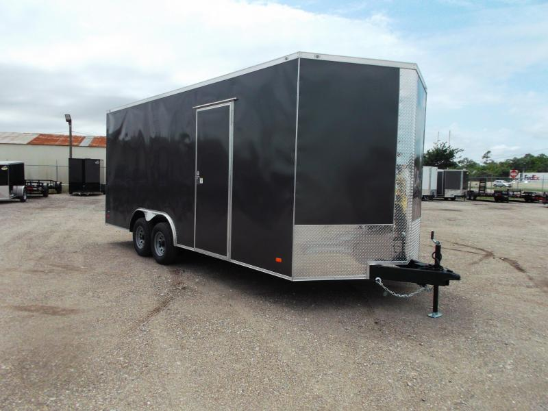 """2021 Covered Wagon Trailers 8.5x20 Tandem Axle Cargo / Enclosed Trailer / 7'6"""" Interior / 5200# Axles / RV Side Door / LEDs / Charcoal Gray Semi-Screwless Exterior"""