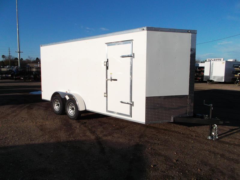 2020 Texas Select 7x16 Tandem Axle Cargo Trailer / Enclosed Trailer / Ramp / 7ft Interior / Side Door / LEDs