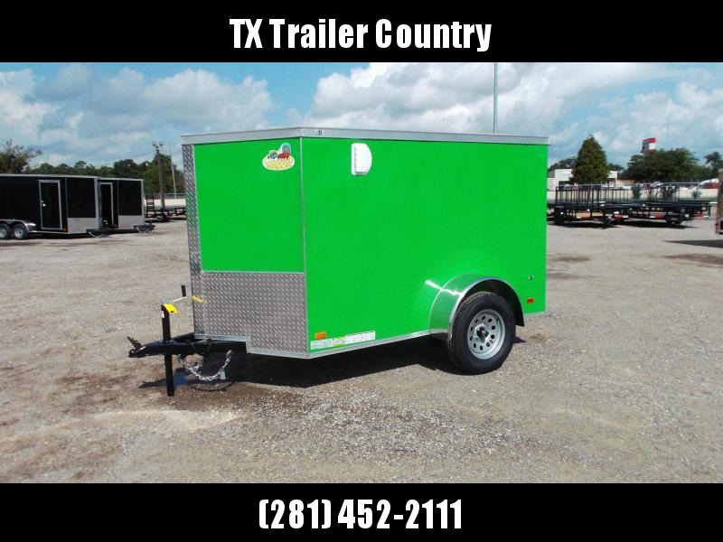 SPECIAL - 2022 Covered Wagon Trailers 5x8 Single Axle Cargo Trailer / Enclosed Trailer / Swing Door / LED's / Lime Green Semi-Screwless Exterior