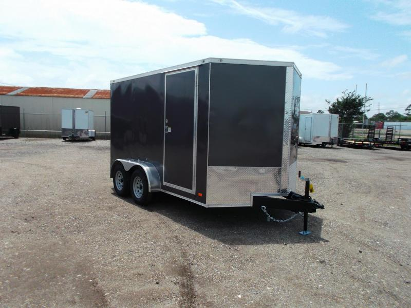 "2021 Covered Wagon Trailers 7x12 Tandem Axle Cargo Trailer / Enclosed Trailer / 6'6"" Interior / Ramp / RV Side Door / LEDs / Charcoal Gray Semi-Screwless Exterior"