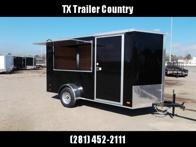 "2022 Covered Wagon Trailers 6x12 Single Axle Concession Trailer / Vending Trailer / Cargo Trailer / 6'6"" Interior Height / Ramp / RV Side Door / LEDs / Black Semi-Screwless Exterior / 3x6 Concession Window"